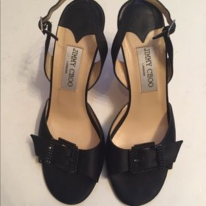JIMMY CHOO SHOES SANDALS HEELS BLACK 38.5 8 8.5